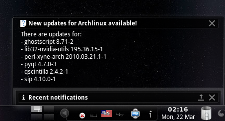 archup - the lightwight archlinux update-notifier