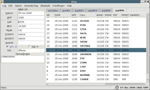 Xlog, a logging program for Hamradio Operators
